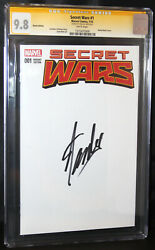 Secret Wars 1 Cgc 9.8 Ss Large Stan Lee Signature Partial Blank Sketch Ed Cover