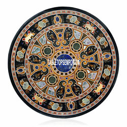 Marble Round Side Table Top Multi Semi Precious Inlay Living Room Home Art