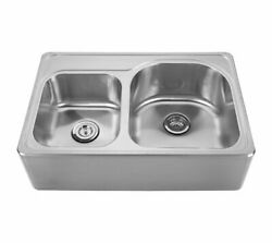 Noahand039s Collection Brushed Stainless Steel Double Bowl Drop-in Sink With A Sea...