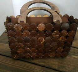 Vintage Wooden Disc Beaded Square Purse Hippy Boho Wood Handle Rare  Great Gift!