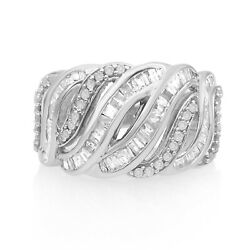 0.75Ct White Round Baguette Natural Diamond Wave Engagement Ring Sterling Silver $106.31