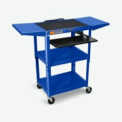 Luxor Adjustable Height Blue Metal A/v Cart W/ Pullout Keyboard Tray And 2 Drop...