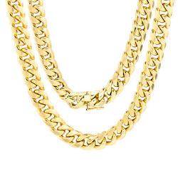 10k Yellow Gold Mens 9mm Real Miami Cuban Link Chain Necklace Box Clasp 20- 30