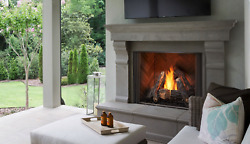 Majestic Courtyard 42 Outdoor Gas Fireplace W/ Clean Face And Herringbone Interior