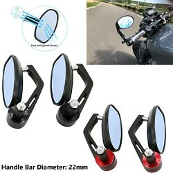 7/8 22mm Blue Lens Handle Bar End Rear View Mirrors Motorcycle Universal Fit