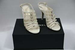 Ivory Studded Strap Heels Size 37 New With Box See Pictures