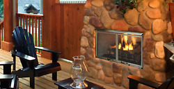 Majestic Villa 36 Gas Outdoor Fireplace With Log Set And Stainless Steel Grate