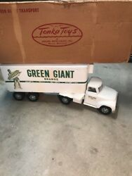 Vintage 1950's Tonka Pressed Steel Green Giant Tractor Trailer Semi Truck And Box