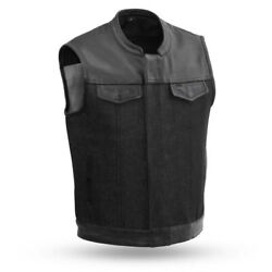 First Manufacturing 49/51 Menand039s Denim And Leather Combo Vest Fim662dm