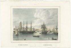 Antique Print Of The Harbour Of Batavia By Lauters 1844
