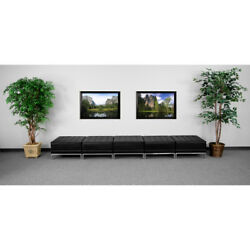 Hercules Imagination Series Black Leather Five Seat Bench - Zb-imag-otto-5-gg