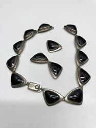 Sterling Silver Taxco 925 Tc-38 Mexico J Comes Marked Onyx 17 Necklace 111g