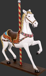 Large Carousel Horse Statue White With Flowers -carousel Horse Life Size Replica