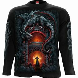 Spiral Direct Dragonand039s Lair Long Sleeve T-shirt Death/flames/dragon/skull/wings