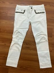 Nwt Pierre Balmain Jean With Studded Pocket In White Size 30 695