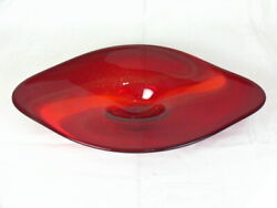 Evolution By Waterford Art Glass Centerpiece Orange With Gold Flake