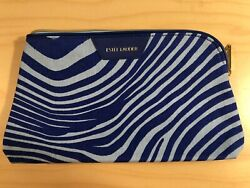 Estee Lauder Makeup Cosmetic Bag Blue amp; White Striped NEW $4.99