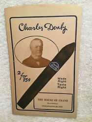 Vtg. Charles Denby Cigar Sleeve Paper Pouch Fendrich House Of Crane Indianapolis