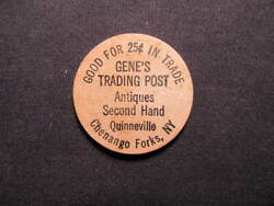 Chenango Forks New York Wooden Nickel Token - Geneand039s Trading Post Wooden Coin