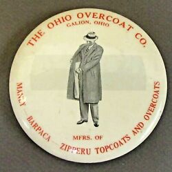 Early Ohio Overcoat Co. Galion Ohio Celluloid Paperweight Pocket Mirror