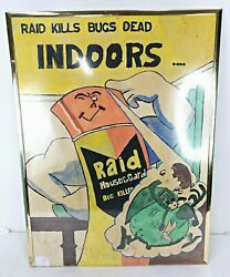 Vintage Raid Kills Bugs Dead Indoors, Insect Repellant Ad Sign Poster 25