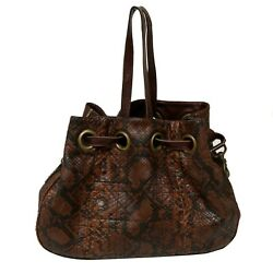 Authentic Dior Brown Cannage Quilted Python Limited Edition Drawstring Tote Bag $799.99