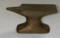 """Vintage Solid Brass Bronze Small Jewelers Watchmaker Anvil Desk Paperweight 3"""""""