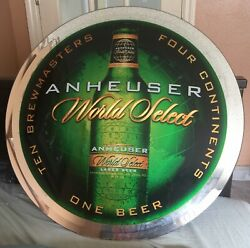 Anheuser Busch World Select Beer Sign / Mirror 23 Round - Rare