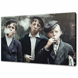 Kids Smoking Vintage Picture Canvas Picture Print Wall Art Decor Free Delivery
