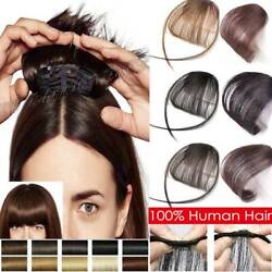 Clip In Real 100 Remy Human Hair Extensions Thin Air Bangs Neat Clip On Fringe