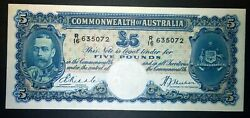 1933 Australia Riddle/sheehan Andpound5 Five Pounds Note - White Face - Higher Grade