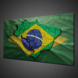 Brazil Flag Map Canvas Print Picture Wall Art Variety Of Sizes