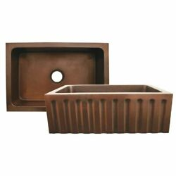 Copperhaus Rectangular Undermount Sink With A Fluted Design Front Apron - Smo...