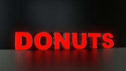 6pc Donuts Led Black Side Panels, Storefront Sign, Complete And Ready To Install