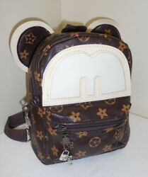 LOGO Designer & Disney Inspired BACKPACK Silver Mickey Mouse CHARMS Purse BAG