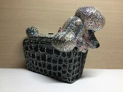 Judith Leiber Poodle Crystals Silver White Black Evening Bag Clutch $4150.00