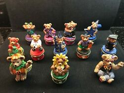 Lot Of 10 - 1999 Claire's Collectible Bear Hinged Trinket Boxes And 2 Figurines