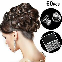 60 Pieces rhinestone crystal set spiral Hair Pin Silver Coil