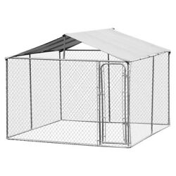 Fast Furnishings 10ft X 10ft X 6ft Large Chain Link Outdoor Dog Play Pen Hous...