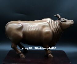 30 Cm Red Copper Bronze Chinese Zodiac Lucky Fengshui Animal Ox Oxen Bull Statue