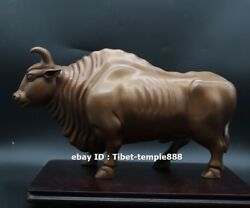 30 Cm Red Copper China Zodiac Lucky Wealth Fengshui Animal Ox Oxen Bull Statue