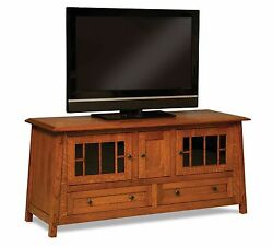 Amish Mission Craftsman Colbran Tv Stand Solid Wood Console Cabinet Storage 61