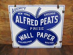 14x17 Authentic Original 1910 Agency Alfred Peats Wall Paper Co. Porcelain Sign