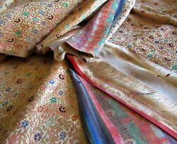 Antique Chinese Silk Brocade Fabric Gold Metallic Flowers Leaves Japan Textile