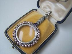 Solid Sterling Silver Seed Pearls Marcasite Magnifying Glass Chatelaine Pendant