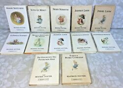12 Beatrix Potter Books About Peter Rabbit In French, German And Latin 1960s