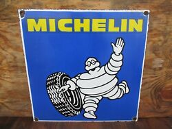 18x18 Vintage 1970 Michelin Tires From France Porcelain Sign In Excellent Cond.
