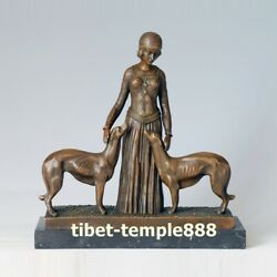 Western Art Deco Bronze Young Women Girl And Two Loyal Whippet Dog Art Sculpture