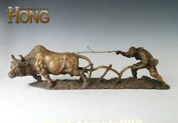 65 Cm Chinese Art Deco Pure Bronze Spring Ploughing Plowing Ox Old Man Sculpture