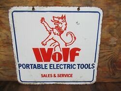 17x18.5 Authentic Original 1935 Wolf Portable Electric Tool Co. Porcelain Sign